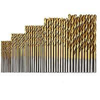 MINHER 50 PCS micro taladro conjunto 1/1.5/2/2.5/3 mm de titanio recubierto HSS brocas de metal de alta velocidad espiral brocas de taladro establece broca profesional