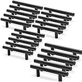 20 stuks meubelgrepen voor keukenkasten, zwart, van roestvrij staal, handvat voor meubels, T-greep, keuken, Ø 12 mm (centrer: