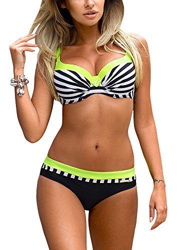 Romacci Damen Bikini Set Damen Bikini Set Bügel Push up Striped Badebekleidung Zweiteilige Strand Badeanzug (L, Grün)
