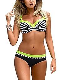 Romacci Damen Bikini Set Damen Bikini Set Bügel Push up Striped Badebekleidung Zweiteilige Strand Badeanzug