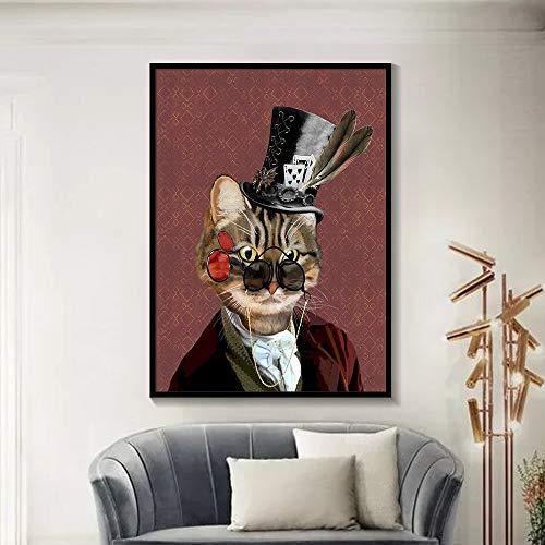 liwendi Nordischen Stil Brille Katze Poster Und Druck Kreative Leinwand Dekoration Malerei 40 * 50 cm