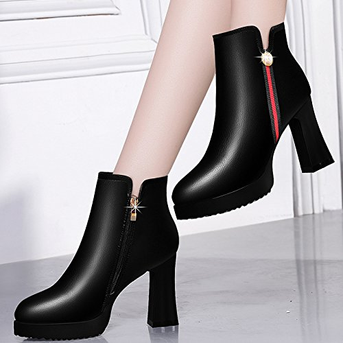 AJUNR Ladies New Fashion Shoes A Rough And Short Boots