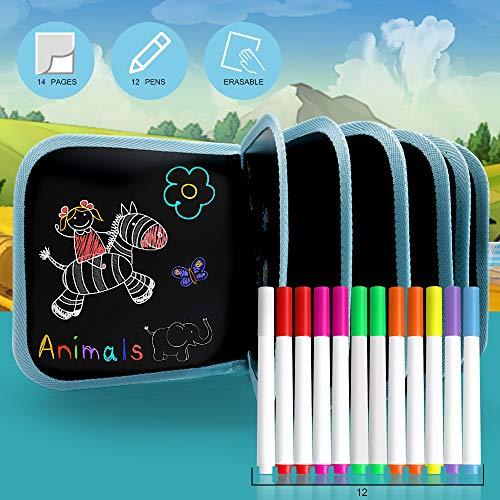 Tragbares Löschbares Doodle Pad Löschbares Papier für Kinder, tragbar, handgeschrieben, radierbar, Graffiti-Malerung, 12 Bunte, radierbare Stifte, 14 Seiten (Vogel)