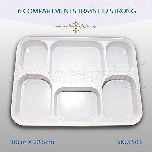 25 x weiß, 6 Fächer, Kunststoff, Einweg, Tabletts