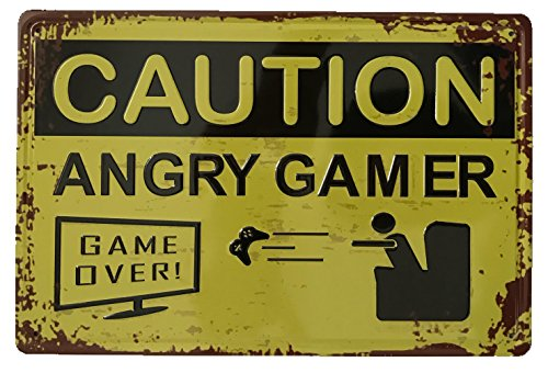 Caution Angry Gamer en relieve Tin Sign–Placa metálica diseño Retro Vintage para pared 20x 30cm decorativo–ideal para Pub bar Office Hogar Dormitorio Comedor Cocina–Cool Classic Shabby Chic de regalo presente