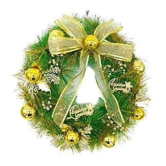 LIOOBO Guirnalda de Puerta de Navidad con Bolas de Navidad y Bowknot 40cm