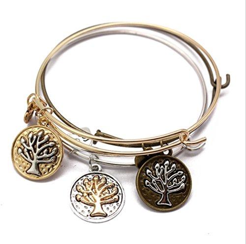 L&H Retractable Charm Bangle Life Inspiriert Retro Baum Inspiriert Stapelbar Armband Perfektes Geschenk Für Sie (Stapelbar Baum)