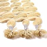 hair2heart 25 x Bonding Extensions aus Echthaar, 40cm, 0,5g Strähnen, gewellt - 22 goldblond