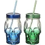 2 calavera frascos con pajillas - 1 azul y 1 verde - para halloween fiestas
