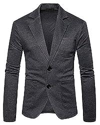 Herren Sakko Slim Fit Blazer Anzug Casual Jacke Freizeit Outwear Rauchfarben M