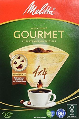Melitta Gourmet Filtertüten, AromaporenPlus, Naturbraun, 4er Pack (4 x 80 Stück)