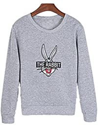HENGSONG Femmes Hiver Cartoon Lapin Chandail Epais Pull Couverture Sweat-shirts (XXL, Gris)