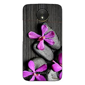 Blue Throat Artistic Pattern of Stone and Flowers Back Case Cover for Motorola Moto C Plus