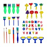 Cusfull 51Pcs Juego de Pintura niños Pinceles de Esponja Material Escolar para Pequeños Sello de Esponja