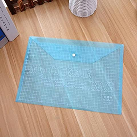 LUFA Transparent Grid Snap Button Sacs en papier PVC Papier Fichier Papeterie Papeterie Fournitures