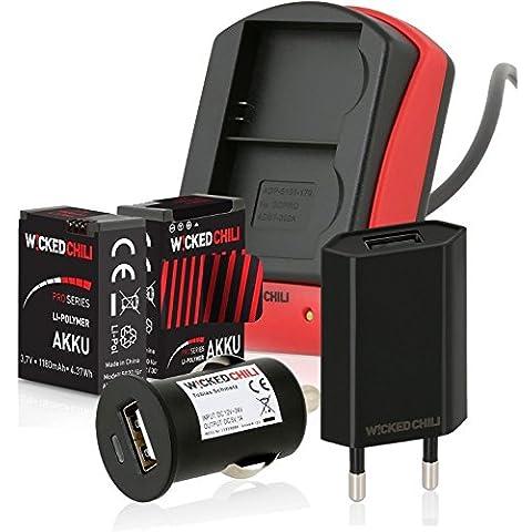 Wicked Chili - Cargador para 2 baterías Pro Series de 1180 mA (incluye adaptador con conector USB para coche, cable conector, enchufe a la red, compatible con GoPro Hero 3+ / Hero 3, set 6 en