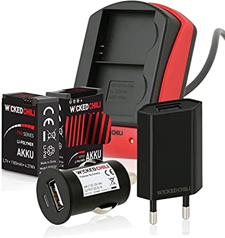 Wicked Chili 6in1 Set für GoPro Hero 3+ / 3 Black, Silver, White - Dual Ladegerät + 2 Pro Series Akkus je 1180 mA + KFZ Adapter + Ladekabel + Netzteil (micro-USB