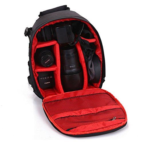 Kameratasche Kamerarucksack Wasserdichte Nylon Multi-Funktions Anti-Schock für DSLR Canon Nikon Sony EOS Olympus Samsung Pentax SLR Zubehör Fujifilm Reisen Fotografie (Red)