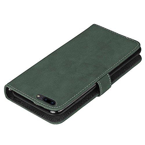EKINHUI Case Cover Frosted Style Premium PU Leder Geldbörse Hülle Flip Stand Abdeckung Fall mit 9 Card Cash Slot für iPhone 7 Plus ( Color : Purple ) Green