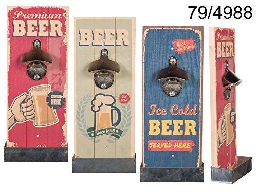 Apribottiglie da parete vintage, in legno, per birra rossa, bevande gassate, contenitore raccoglitore dei tappi.