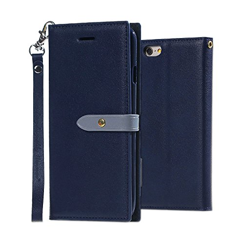 Coque iPhone 6S,Coque iPhone 6, MSK® Housse Etui Cuir Portefeuille Pour iPhone 6S/iPhone 6 Case Folio Portefeuille Protection Cover - Brun Bleu Marine