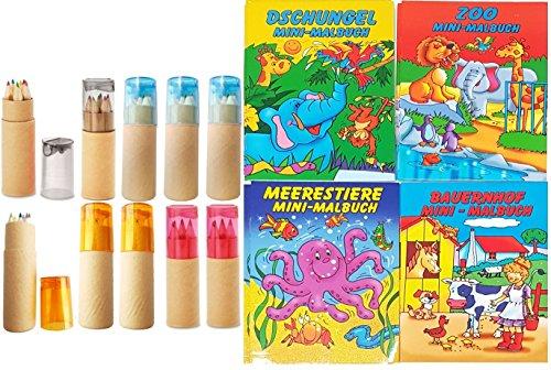 10 Buntstifte Sets mit Spitzer für Kinderparty Hochzeit Restaurant Geschenk mit Malbücher...