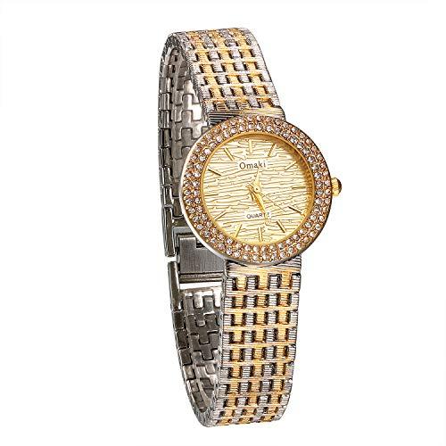 nalog Quarz 30M wasserdichte Armbanduhr Einzigartige Lässige Metall-Armband Frauen Uhren mit Runde Strass Lünette, Gold Siber ()