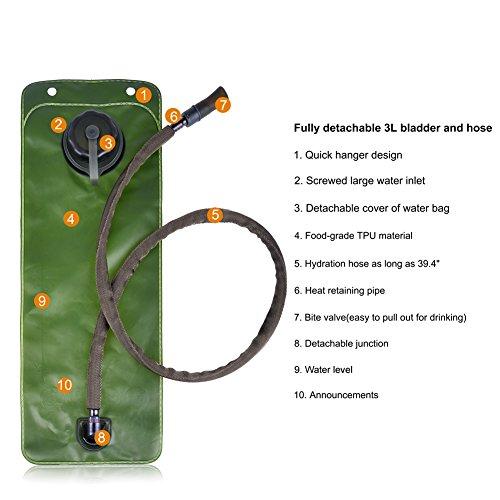 Vbiger Sacca Idratazione Impermeabile Zaino per Ciclismo, Escursionismo, Corsa, Campeggio, Camminata camuffamento