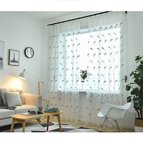 2 Panels farbige Feder Stickerei Schiere Voile Vorhänge, Faux Leinen texturierte Vorhänge, Tülle Vorhänge, 106