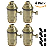 Vintage Brass E27 Lamp Holder ES Screw Switch Light Bulb Socket Pendant Fitting Set with ON/Off, Pack of 4