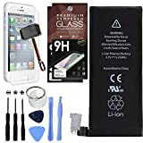 Cell Phones Accessories Best Deals - Cell Phone DIY Battery Replacement for Apple iPhone 4 - Complete Repair Kit - Includes Set of Tools - [Pack of 2] Glass Screen Protectors - 0 Cycle 1430mAh Batteries - For Models A1349 / A1332