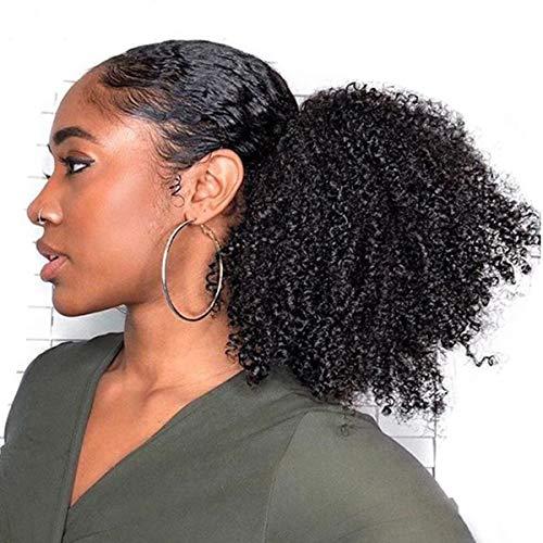 Kordelzug Haarteil (Afro verworrene lockige Clip in Pferdeschwanz Haarverlängerungen Echthaar für schwarze Frauen 18 Zoll Clip in Top Verschluss Kordelzug Pferdeschwanz Haarteil Natural Black 120 Gramm)