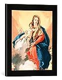 Gerahmtes Bild von Giovanni Battista Tiepolo Maria mit Kind, der Heiligen Katharina und dem Erzengel Michael, Kunstdruck im hochwertigen handgefertigten Bilder-Rahmen, 30x40 cm, Schwarz matt