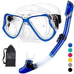 HENGBIRD Kit de Plongée Masque et Tuba, Premium Set de Snorkeling/Plongée Hommes et Femmes Kits de Randonnée Aquatique, Anti-buée et Anti-Fuite
