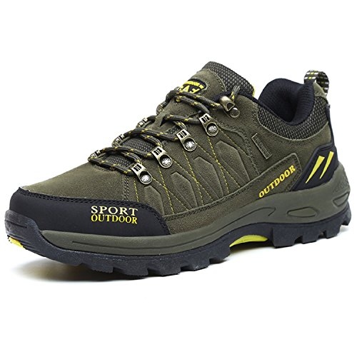 NEOKER MEN'S TREKKING HIKING SHOES WALKING SPORTS OUTDOOR LOW RISE CLIMBING SHOES ARMY GREEN 43 SPORTS BEST PRICE REVIEW UK