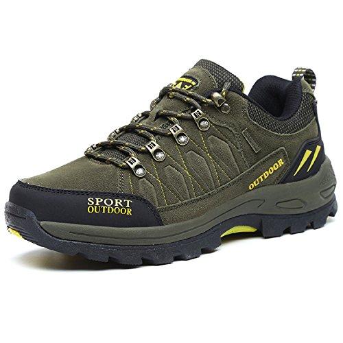 NEOKER Wanderschuhe Trekking Schuhe Herren Sports Outdoor Hiking Sneaker Armee Grün,Gr.-EU 41