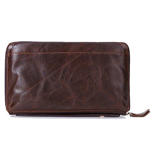 Gendi hombres de negocios billetera Vintage Brown zurriago hombres bolso de embrague 100% cuero genuino embrague bolsa de mano doble zipper monedero para hombre (café)