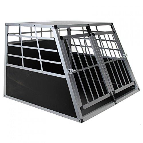 Doppel Hundebox aus Aluminium für den Transport mittelgroßer Hunde Auto Gitterbox mit geneigter Vorderseite für PKW Kofferraum