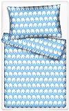 Kinderbettwäsche Elefanten 2-tlg. 100% Baumwolle 40x60 + 100x135 cm mit Reißverschluss (blau)