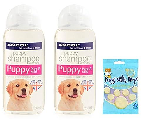 Puppy Shampooing sensibles–2x 200ml bouteilles Ancol Shampooing pour chiots–doux pour les peaux sensibles–Y Compris 125g Puppy friandises