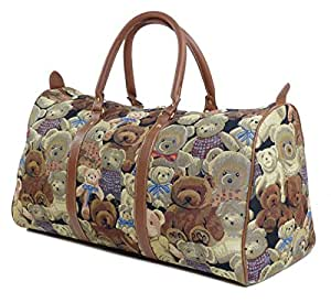 Tapestry Weekend Holdall/Luggage Bag/Travel Bag (large) Teddy Bears - Gobelin Style