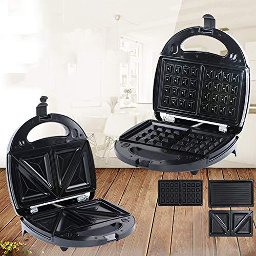0Miaxudh 3-in-1-Toaster, elektrischer Sandwichmaker-Toaster, Multifunktions-Küche-Frühstück-Waffelbrot