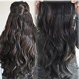 Vovotrade®One Piece langes lockiges / lockiges / wellenförmiges Haar-Verlängerungs-Klipp-on 146(Dunkelbraun)