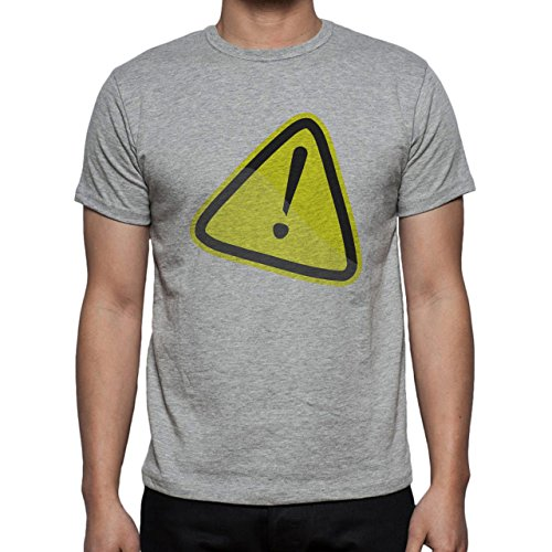 Danger Sign Warning Caution Yellow Triangle Herren T-Shirt Grau