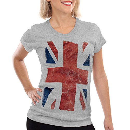 style3 Union Jack Damen T-Shirt großbritannien england london flagge, Farbe:Grau meliert, Größe:M