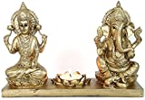 #8: TIED RIBBONS Goddess Lakshmi Ganesh Idol Statue Murti for Pooja - Gold