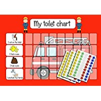 kids2learn Personalised Fireman Toilet Training Star Chart for Toddlers Children with 125 Star Stickers