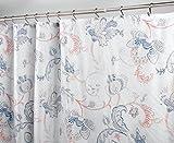 mDesign Duschvorhang mit Blumenmuster - ideales Badzubehör mit perfekten Maßen: 183 cm x 183 cm - langlebige Duschgardine - Farbe: navy/grau/rosa