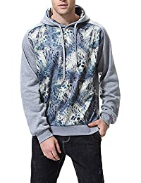 BUSIM Men's Long Sleeve Sweater Autumn Casual Slim Personality Print Splicing Trend Fashion Hooded Sweatshirt...
