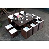 Mon Usine LSR-310-BR/WH 6C4F Le Vito Salon jardin encastrable en résine Marron 180 x 115 x 73 cm